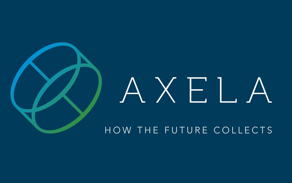 axela logo on blu with slogan